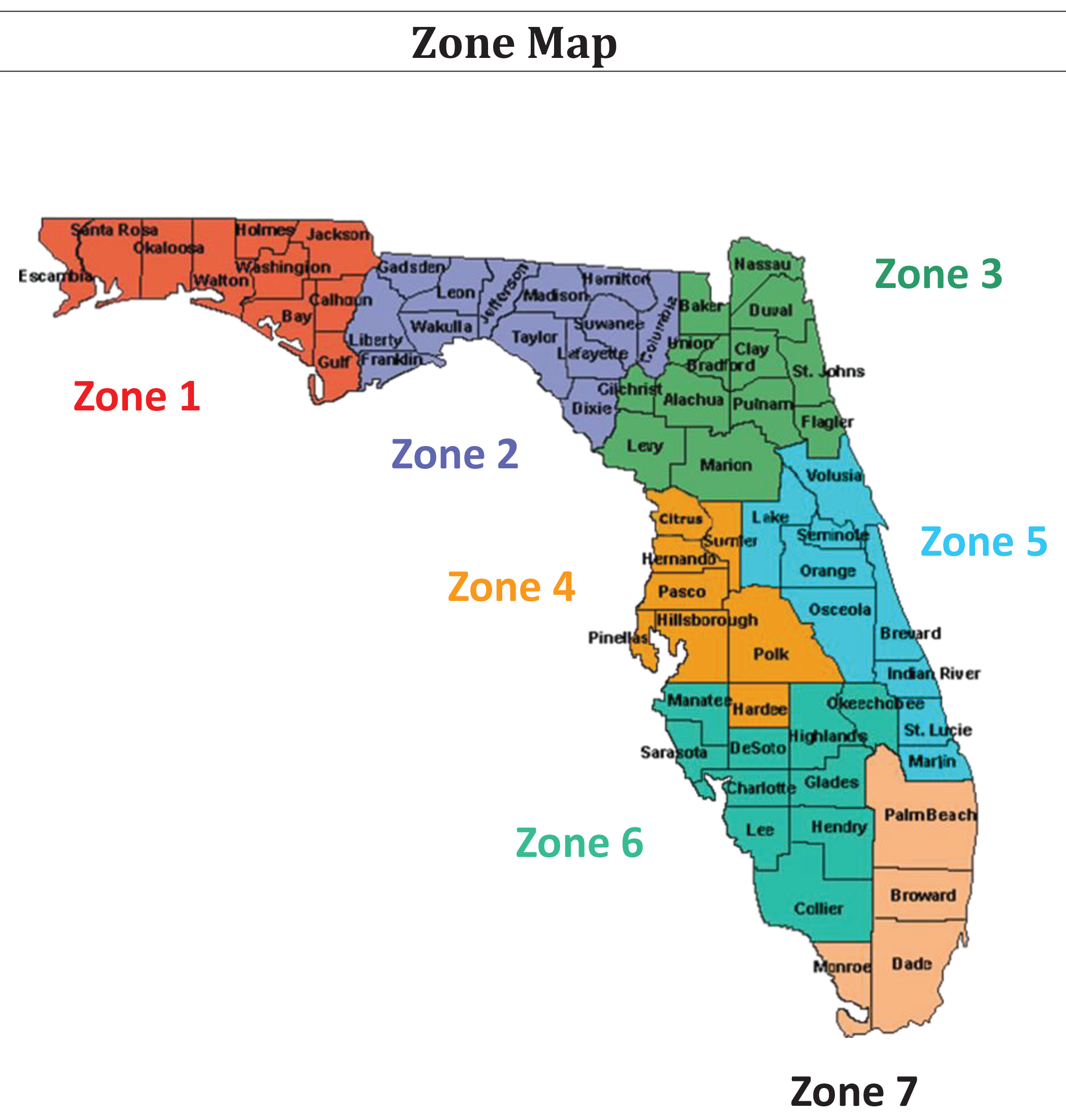 Task Force Zone Map -- Map of Florida with counties outlined and labeled.